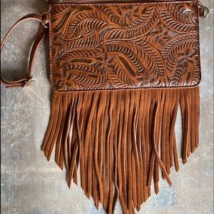 Free People Leather Fringe Crossbody Handbag